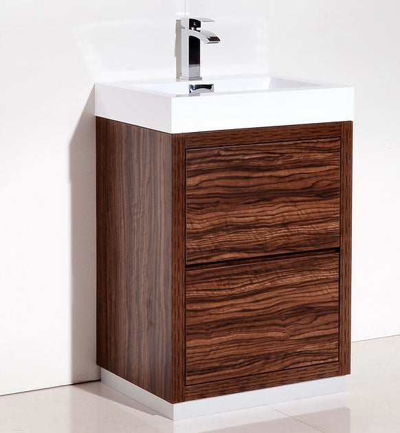 "24"" Bliss, Kubebath Walnut Free Standing Bathroom Vanity"