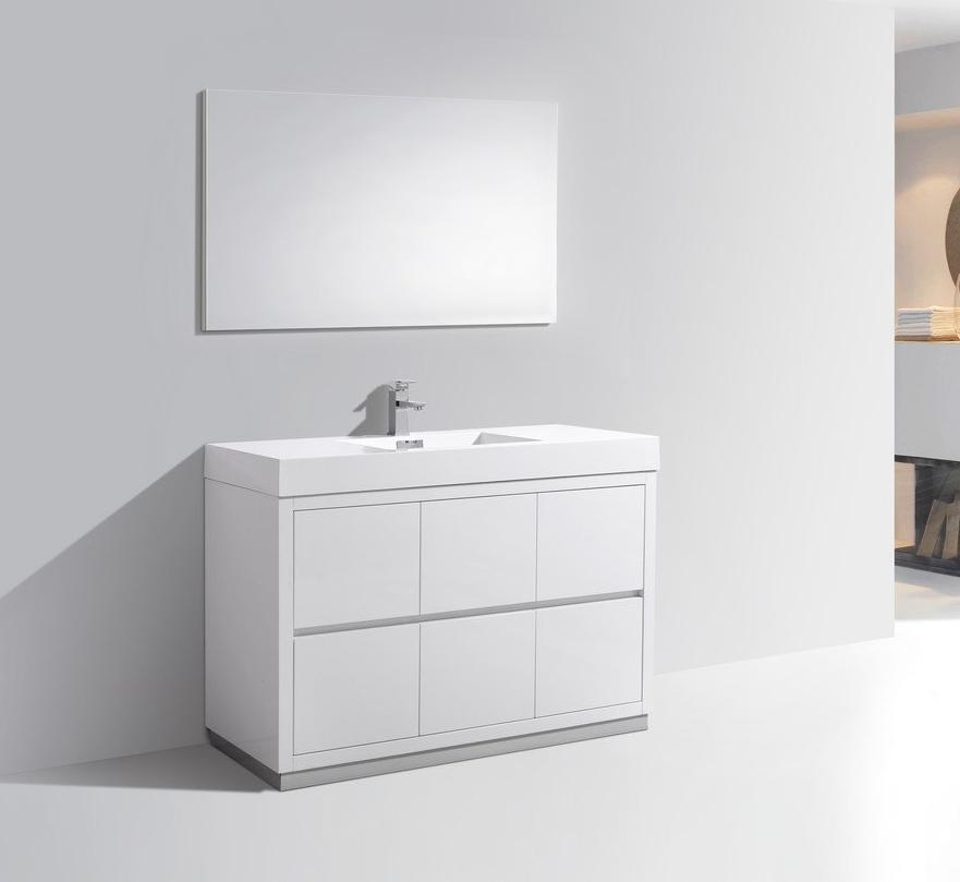 "48"" Bliss, Kubebath High Gloss White Free Standing Bathroom Vanity"