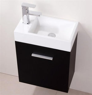18″ Keira, Black Espresso Wall Mount Modern Bathroom Vanity