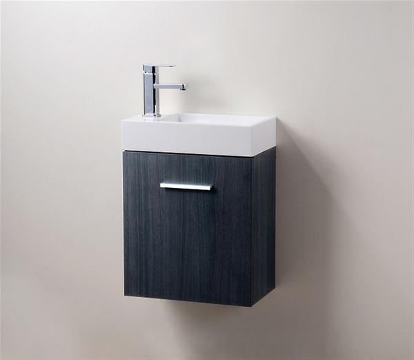 18″ Bliss, Grey Oak Wall Mount Modern Bathroom Vanity
