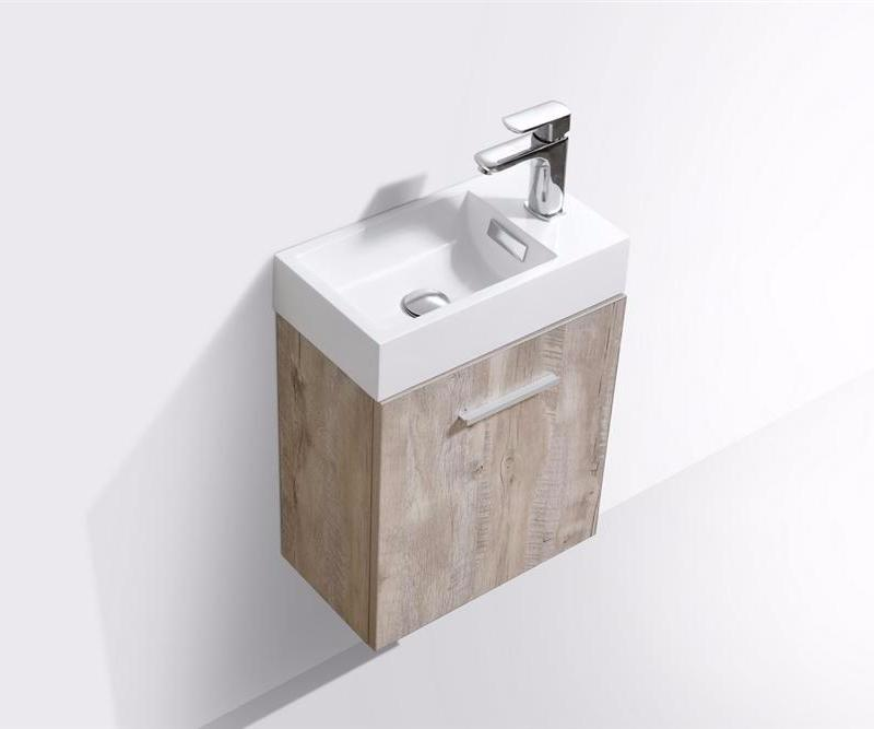 "18"" Keira, Nature Wood Wall Mount Modern Bathroom Vanity"