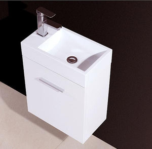 "18"" Bliss, Gloss White Wall Mount Modern Bathroom Vanity"