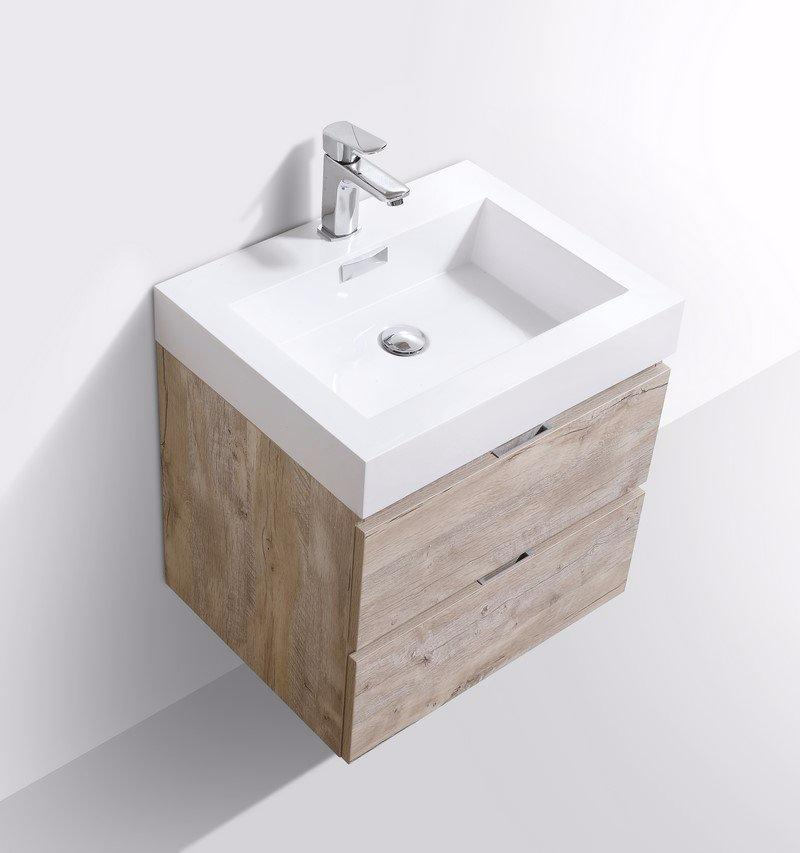 "24"" Keira, Nature Wood Wall Mount Bathroom Vanity"