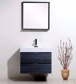 "30"" Bliss, Grey Oak Wall Mount Bathroom Vanity"