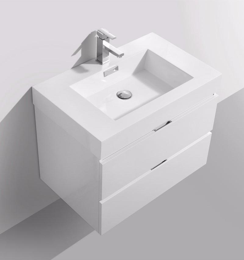 "30"" Bliss, Gloss White Wall Mount Bathroom Vanity"