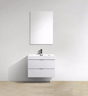 "30"" Keira, Gloss White Wall Mount Bathroom Vanity"