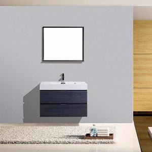 "36"" Bliss, Kubebath Grey Oak Wall Mount Modern Bathroom Vanity"
