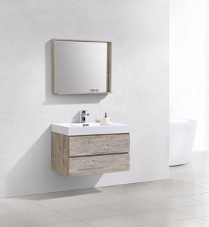 "36"" Bliss, Kubebath Nature Wood Wall Mount Modern Bathroom Vanity"