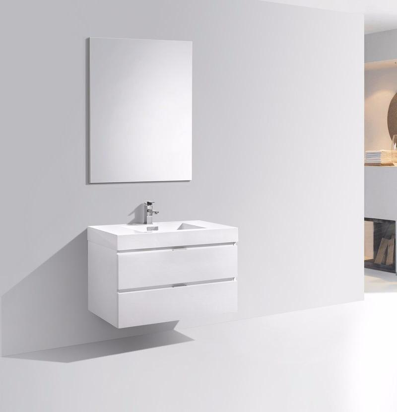 "36"" Bliss, Kubebath High Gloss White Lacquer Wall Mount Modern Vanity"