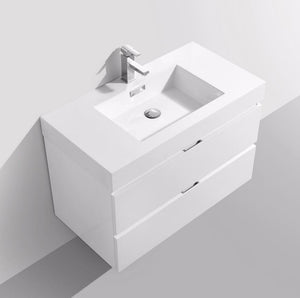 "36"" Keira, Gloss White Lacquer Wall Mount Modern Vanity"