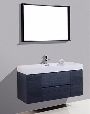 "48"" Bliss, Kubebath Grey Oak Wall Mount Modern Bathroom Vanity"