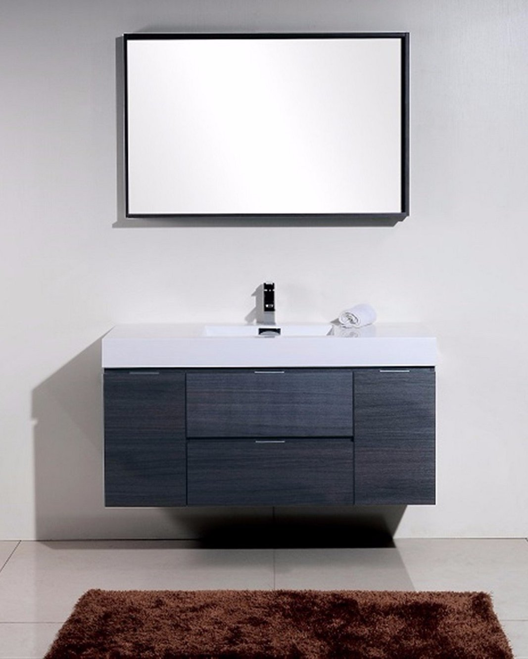 "48"" Diana Grey Oak Wall Mount Bathroom Vanity"