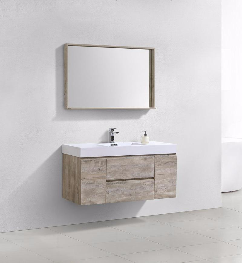 "48"" Keira, Nature Wood Wall Mount Modern Bathroom Vanity"