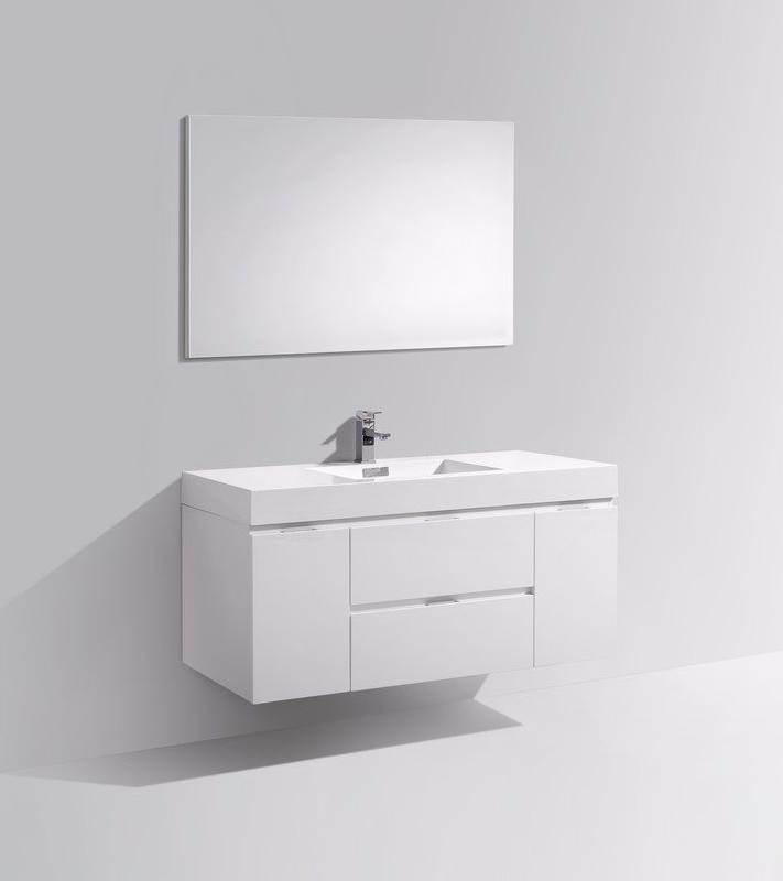 "48"" Bliss, Kubebath High Gloss White Wall Mount Modern Bathroom Vanity"