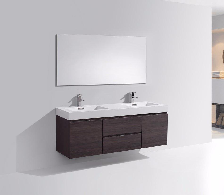 60″ Bliss, Kubebath Grey Oak Wall Mount Double Sink Modern Bathroom Vanity