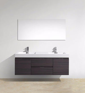 60″ Bliss, Kubebath Grey Oak Wall Mount Double Sink Bathroom Vanity