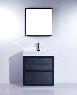 "30"" Bliss, Kubebath Grey Oak Free Standing Bathroom Vanity"