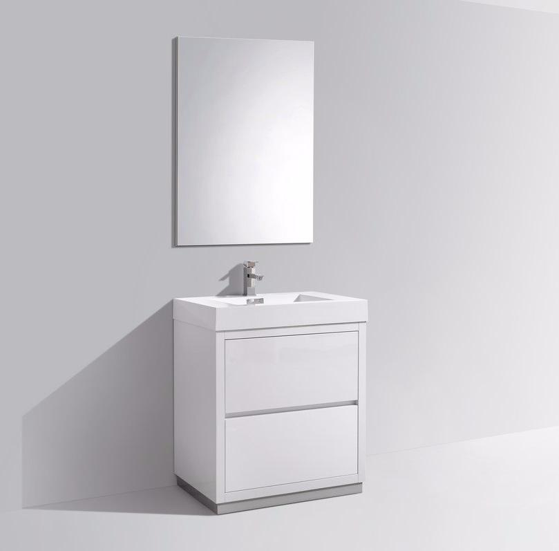 "30"" Bliss, Kubebath High Gloss White Free Standing Bathroom Vanity"