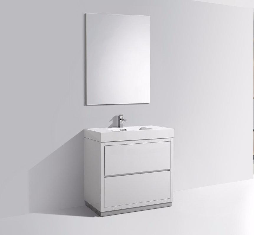"36"" Bliss, Kubebath High Gloss White Free Standing Bathroom Vanity"