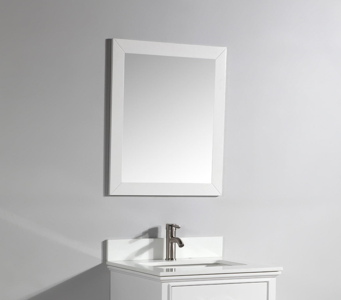 "23"" Framed White Wooden Mirror"