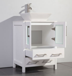 "24"" Lena White Bathroom Vanity with Vessel Sink"