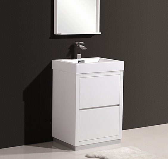 "24"" Bliss, Kubebath High Gloss White Free Standing Bathroom Vanity"