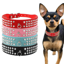 Load image into Gallery viewer, Rhinestone Rows Leather Collars For Small Medium Dogs Cats