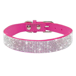 Bling Rhinestone Leather Collars For Small Medium Dogs Cats