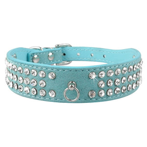 Rhinestone Rows Leather Collars For Small Medium Dogs Cats