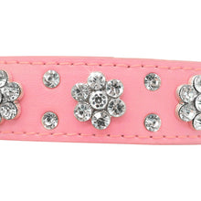 Load image into Gallery viewer, Bling Rhinestone Flowers Leather Collars For Small Medium Dogs Cats