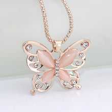 Load image into Gallery viewer, Rose Gold Opal Butterfly Necklace