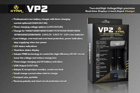 XTAR VP2 Dual Bay Charger - Grey Haze ECig Store