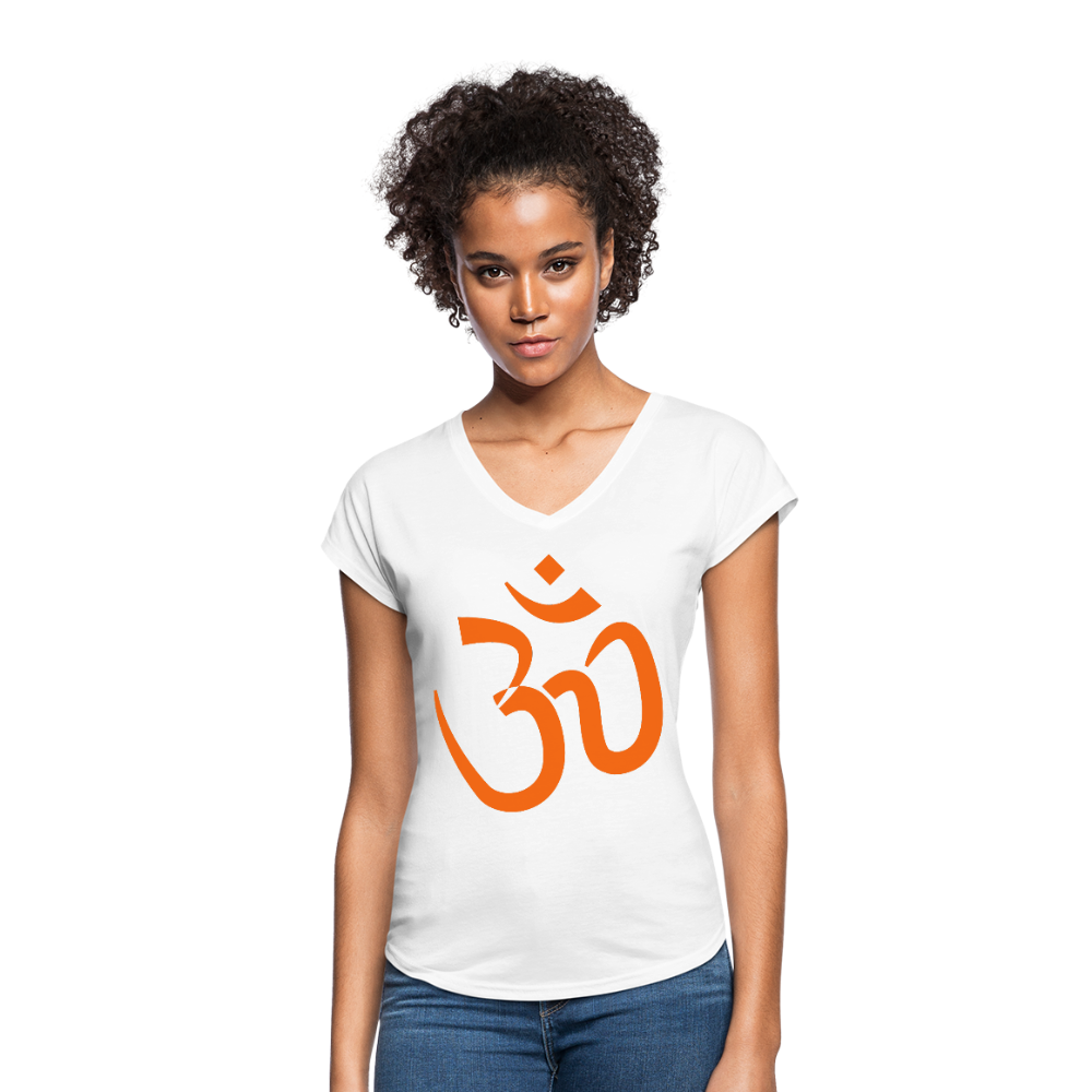Women's Tri-Blend V-Neck T-Shirt - Proud to be Indian - white