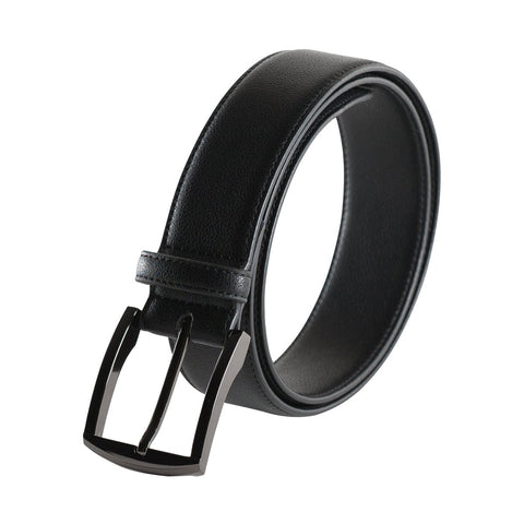 A black belt with a black square buckle.