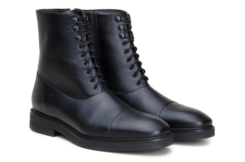 Plain, black, lace up, ankle height boots.