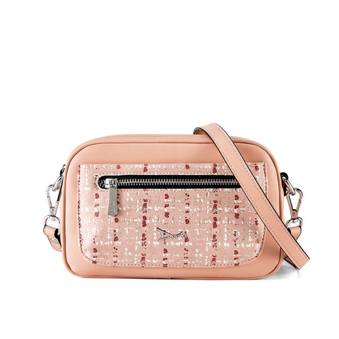 A small pink bag with a patterened front and a crossbody strap.