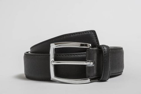 A black leather belt with a silver buckle.