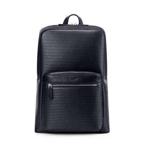 A black backpack with a ribbed texture and a small, zippered front pocket.