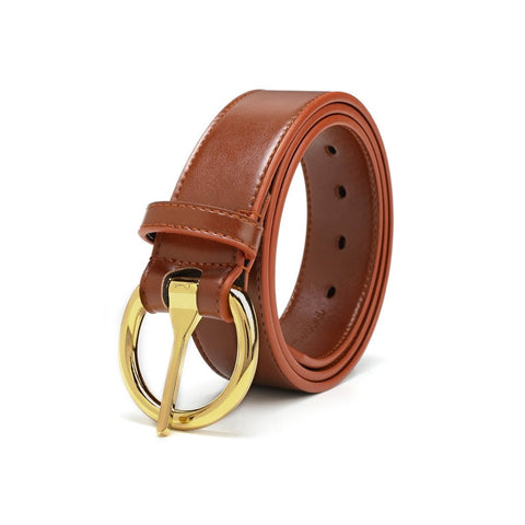 A brown belt with a gold, circular buckle.