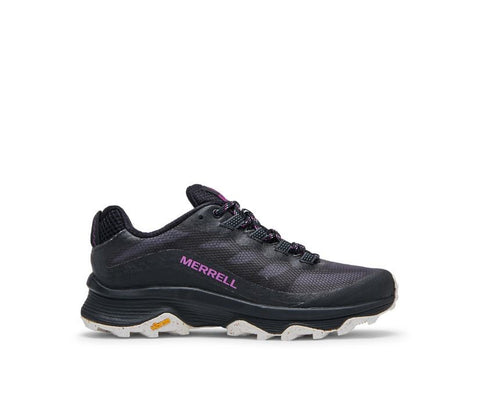 """A black sneaker with purple text along the arch that reads, """"Merrell""""."""