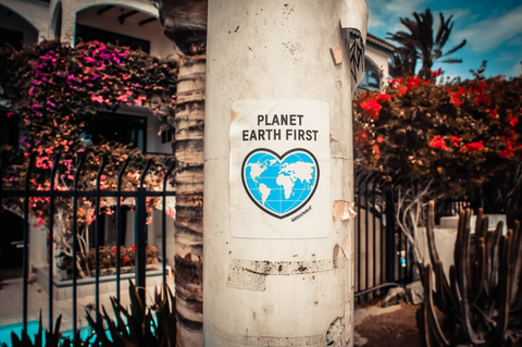 """A light-wooded tree in front of some wrought iron fencing, with a poster that says """"Planet Earth First"""" and bears a picture of a hear-shaped map of Earth."""