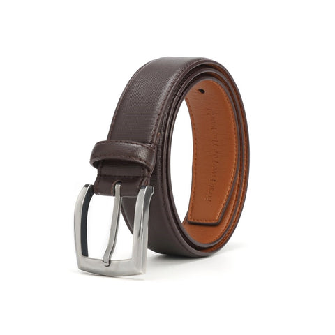 A belt that is black on one side and brown on the other. The buckle is silver and square shaped.
