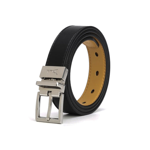 A belt that is black on one side and light tan on the other. The buckle is silver and square shaped.