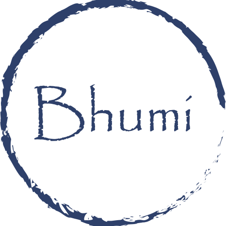 The company's logo - The company's name in blue Papyrus font with a blue circle around it.