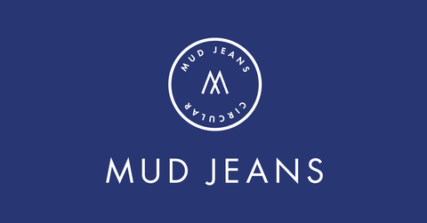 """The company's logo - """"Mud Jeans"""" in white on a blue background, with a trade seal above it."""