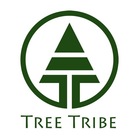 """The company's logo - a green graphic of a fir tree in a circle, with """"Tree Tribe"""" written in green below it."""