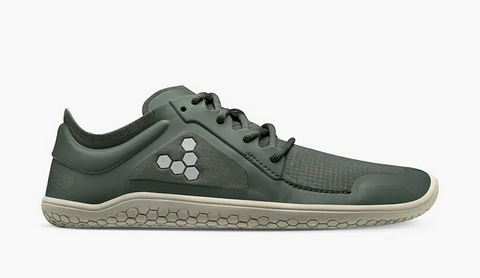 """Grey-green casual sneaker with a grey hexagon pattern in the shape of a """"V"""" on the arch."""