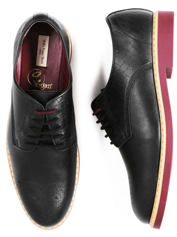 Black lace up men's dress shoes with red soles and heels accented by white edging.