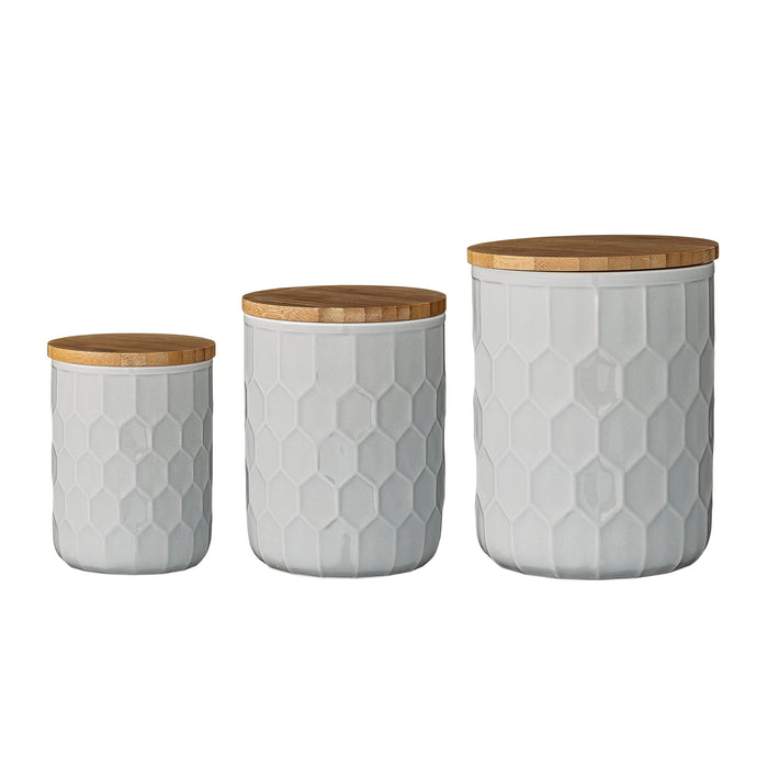 Set of 3 White Stoneware Canisters with Bamboo Lids