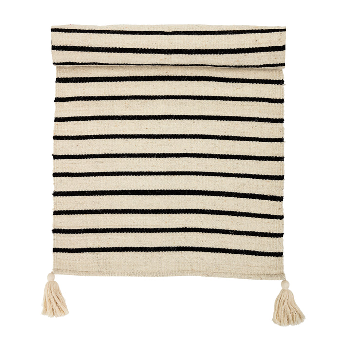 Rectangle Black & White Striped Cotton Rug